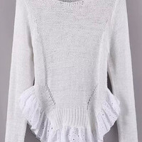 White Long Sleeve Cutout Ruffled Knit Sweater
