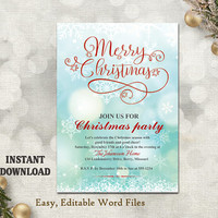 Christmas Party Invitation Card, Printable Holiday Card Template Holiday Party Card Red Blue Christmas Card Editable Sparkle Card DIY - CH9