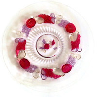 Vintage Westmoreland, Della Robbia, Platter or Punch Bowl Underpate, Ruby Red Stained, 1928-1940, Flashed Fruit-Glassware