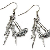 Marvel Thor Rhinestone Hammer and Lightning Dangle Earrings