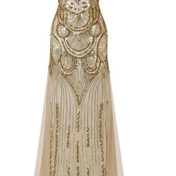 Women Sexy Strapless Sleeveless Sequins Lace Up Wedding Party Gown Full Dress