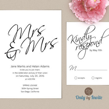 Lesbian Wedding Invitation and RSVP card set | Same Gender Wedding | Mrs & Mrs script wedding invite
