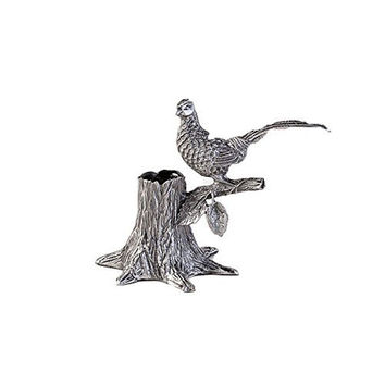 One Hundred 80 Degrees Silver Metal Phesant Toothpick Holder