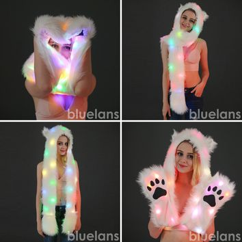Comfortable Women LED Light Up Faux Fur Animal Ears Rave Hood Hat with Scarf
