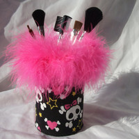 Girly Skull and Cross Bones Print with Hot pink Feather Boa Pencil/Makeup brush/Silverware Holder
