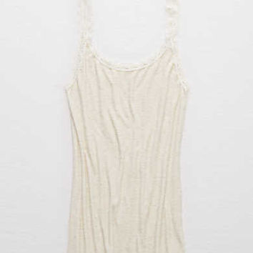 Aerie Real Soft® Lace Trim Cami , Heather Frost