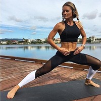 Black White Mesh Patchwork Leggings Fitness Activewear