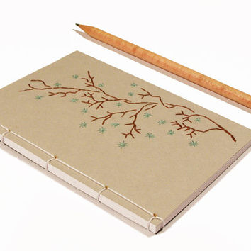 Blooming Branch. Embroidered A6 Notebook. Nature Notepad. Grey Jotter. Japanese Gray Notebook. Garden Mini Journal. Spring Pocket Notebook