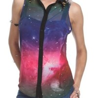 Galaxy Button-Up Sleeveless Top