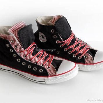 dark denim and candy stripe converse high tops converse all star vintage slip ons r