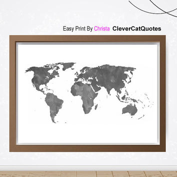 Watercolor world map print, World map printable art, Grey  map, Travel art, Travel poster, World map,  Modern wall decor, Instant download