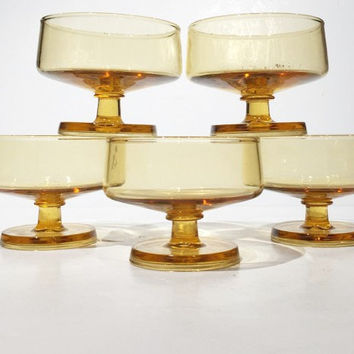 Yellow Footed Cocktail Glasses, Vintage Stemmed Glasses Set of 5, Mid Century Modern Danish, Sturdy Stackable Amber Cocktail Mad Men Barware