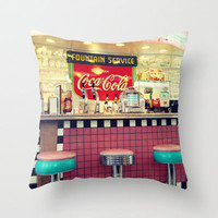 retro diner Throw Pillow by Sylvia Cook Photography