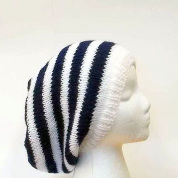 Navy blue and white stripe slouchy beanie hat, hand kitted.   5193