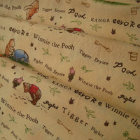 Disney Classic Winnie the Pooh Cotton Fabric Nursery Baby Boy Girl Beige Sand Color Clean Unused HTF 2 Yards Length 55 Inches Wide Destash