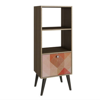 Sami Double Bookcase Oak / Stamp / Grey