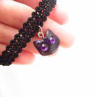 Black cat kitten kitty collar choker pendant necklace with glowing purple eyes Cheshire cat Alice in Wonderland Galaxy Cosmos Space Disney