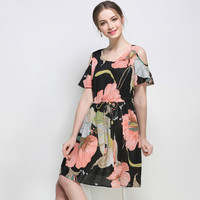 Summer Cold Shoulder Dress Casual Floral Printed Drawstring Waist Women Plus Size Dresses l to 4xl 5xl