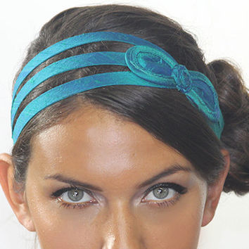 Aqua Blue silk bow headband with adjustable strap in the back