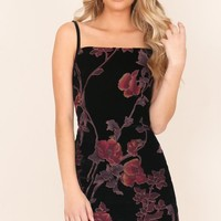 Here We Go Again dress in black floral Produced By SHOWPO