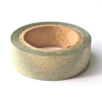 Light Gold Glitter Washi Tape - Metallic Tape Sparkle Tape - 5 meters per roll - glitter texture washi tape paper tape