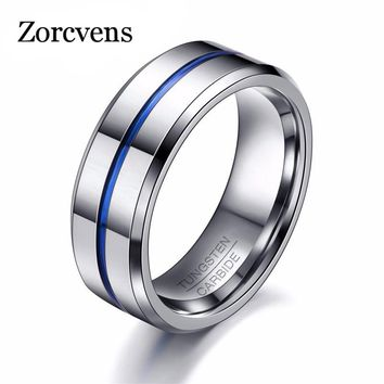 ZORCVENS 2017 Fashion Thin Blue Line Tungsten Ring Wedding Brand 8MM Tungsten Carbide Rings for Men Jewelry