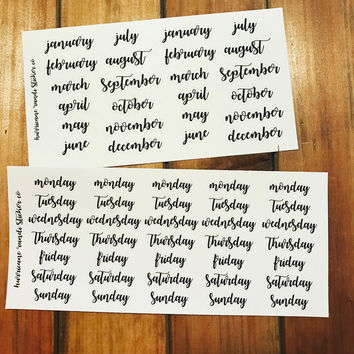 Month & Weekday font stickers