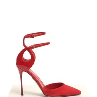 SERGIO ROSSI - Suede and patent leather D'orsay pumps  | Red Pump High Heels | Womenswear | Lane Crawford - Shop Designer Brands Online