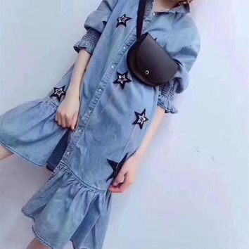 """Givenchy"" Women Loose Fashion Five-pointed Star Middle Sleeve Lapel Shirt Irregular Frills Denim Dress"