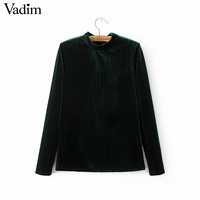 Women basic solid velvet shirts stand collar long sleeve blouse autumn winter 3 colors ladies casual tops blusas