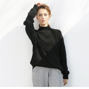 ESBONS All-match Simple Loose Knit Sweater