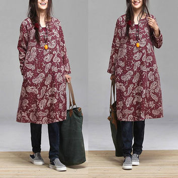 New fall loose cotton dress / long-sleeved floral  fresh Maxi Dress