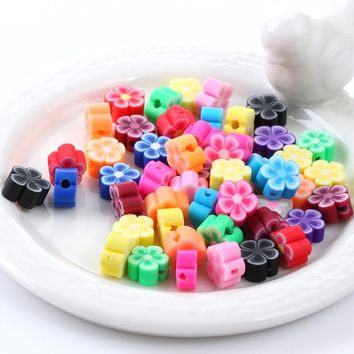 300pcs/lot Assorted Colors  Plum Blossom Polymer Clay Bead 8mm Fimo Flower Diy Spacer Beads Jewelry Making Materials