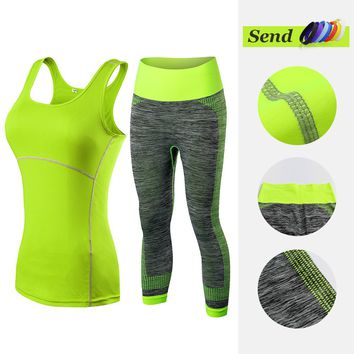 2018  Hot Women Athletic Gym Yoga Clothes Running Fitness Clothing Stripe Sleeveless Sport Vest Pants Sets Sportswear For Women