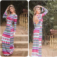 Multi Color Long Sleeve Backless Striped Maxi Dress