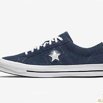 Converse One Star Premium Suede Low Top + Crystals - Blue 9ec6fd415994