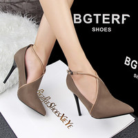 Fashion Hollow Crisscross Buckle Shallow Mouth Pointed Toe Boots Shoes Women Heels Shoes