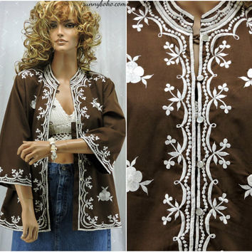70s embroidered tunic top S / M Chuchi 1970s ethnic Asian brown / white tunic blouse / over shirt Zen boho hippie tunic SunnyBohoVintage