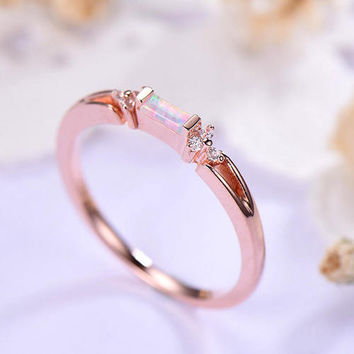 opal engagement ring rose gold 14k/18k Baguette Cut Petite or 925 sterling silver with Man made CZ diamond Unique