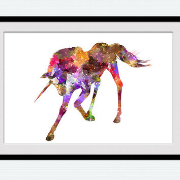 Unicorn art print Unicorn watercolor poster Home decoration Kid room decor Nursery room art poster Birthday gift Unicorn artwork decor W480