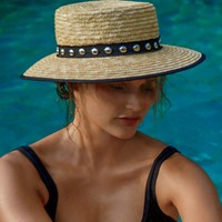 Free People Fame Studded Straw Boater