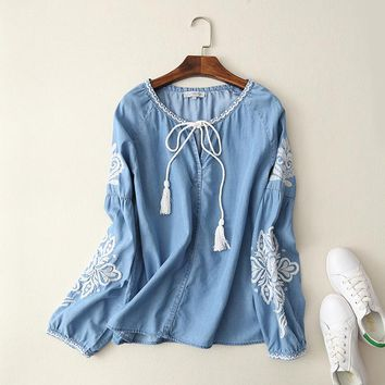 Momoluna 2017 Woman vintage Embroidery Denim Lace Up Blouse Shirt bluzka koszula damska tunic chemise tunique m l