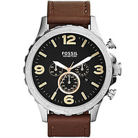 Fossil Men's Nate Black Dial Leather Strap Chronograph Watch