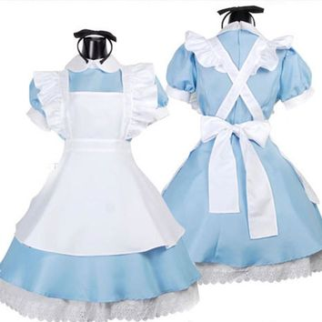 New!Lolita Cute Alice in Wonderland Cosplay Costume Dress for Girls Women Dress Alice Maid Dress Costume with headband