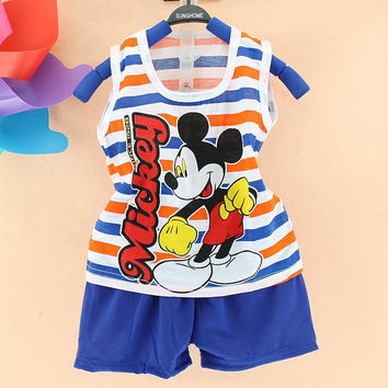 summer baby boys clothes cotton vest 2pcs baby set cute Mickey toddler boys clothes Sports children Suit, Kids Clothes set