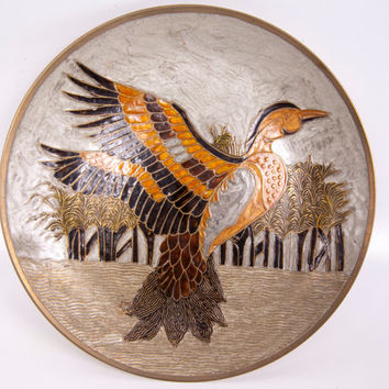 Vintage India Brass Plate Enamel Painted Etched Pheasant Decorative Wall Hanging Hand Painted