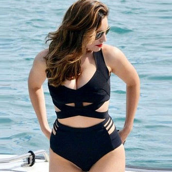 Plus Size Swimwear Black Cut Out High Waist Push&Up Padded Bandage Swimsuit Bikini 2016 Bathing Suit for Women Swimming suit