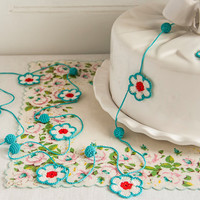 Flower and Bauble Crochet Garland - Aqua Red White