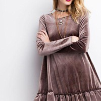 Easel long sleeve velvet double ruffle tunic dress
