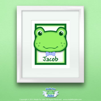 Frog Nursery Personalized Baby Boy Custom with Name Wall Art Print for Nursery or Kids Room 8x10